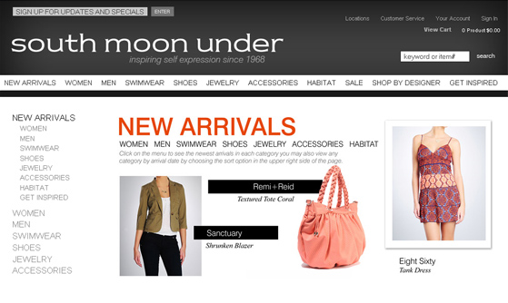 E-commerce Development - South Moon Under